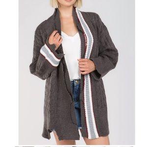 Charcoal Distressed Varsity Soft cozy Cardigan